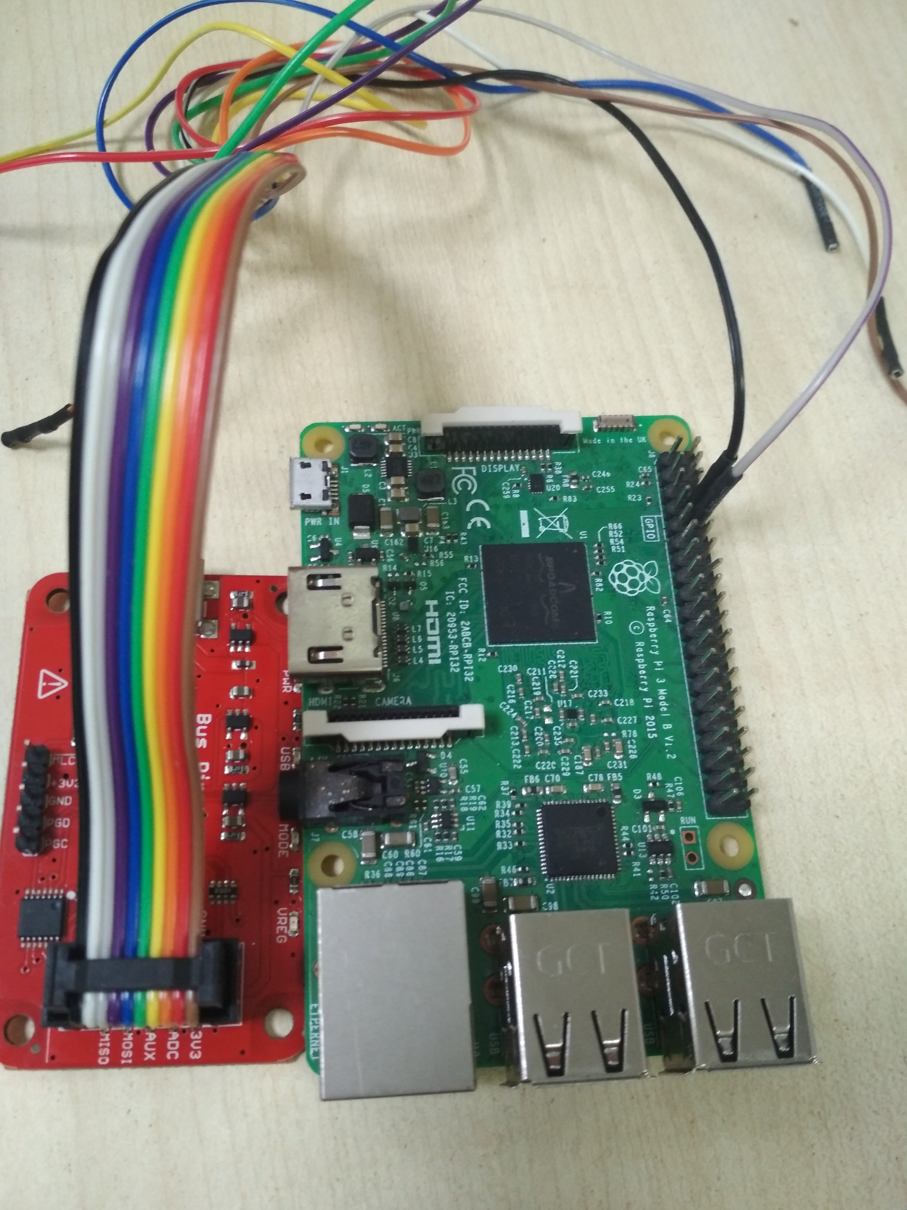 Final wiring setup of raspberry pi and buspirate